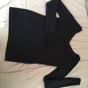 Black double V CK sweater
